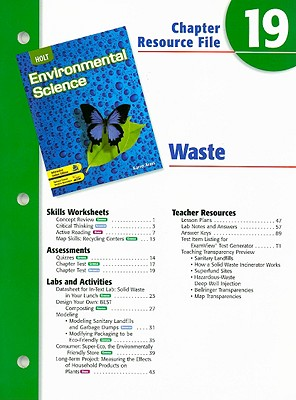 Image for Holt Environmental Science Chapter 19 Resource File: Waste