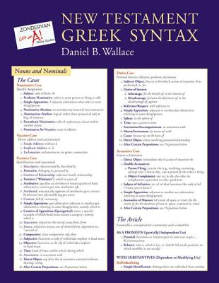 New Testament Greek Syntax Laminated Sheet (Zondervan Get an A! Study Guides), Daniel B. Wallace