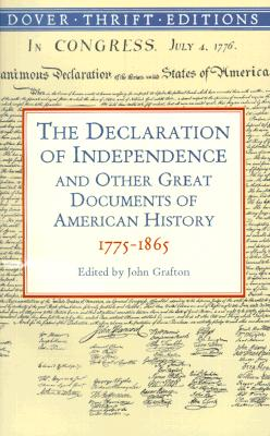 Image for The Declaration of Independence and Other Great Documents of American History 1775-1865 (Dover Thrift Editions)