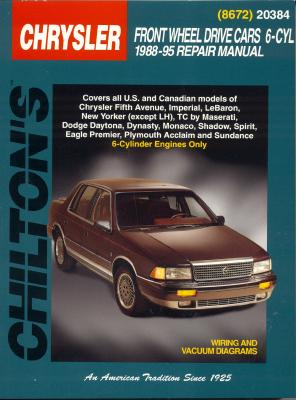 Image for Chrysler Front-Wheel Drive Cars, 6 Cylinder, 1988-95 (Chilton Total Car Care Series Manuals)