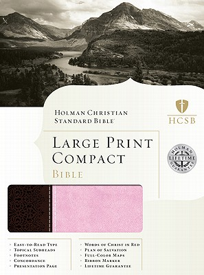 HCSB Large Print Compact Bible (Chocolate/Pink Duotone), Holman Bible Editorial Staff