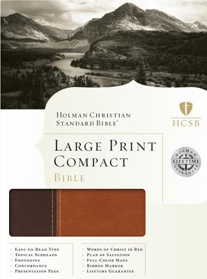 HCSB Large Print Compact Bible - Brown/Tan Duotone Simulated Leather