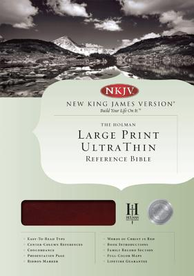 NKJV Large Print UltraThin Reference Bible - Mahogany Leather Touch