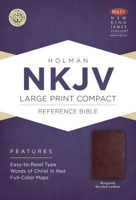 NKJV Large Print Compact Reference Bible, Burgundy Bonded Leather