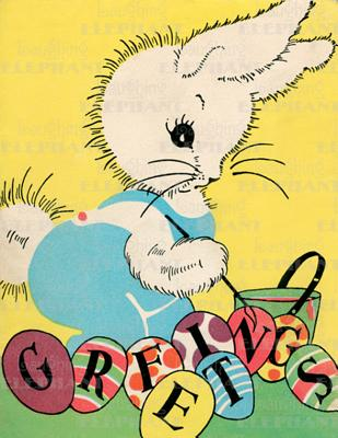 Image for Rabbit w/ Paint Brush - Easter Greeting Card